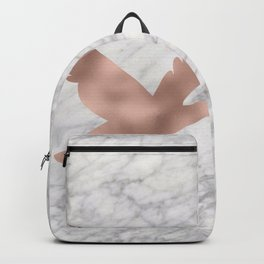 Rose gold bird on marble Backpack