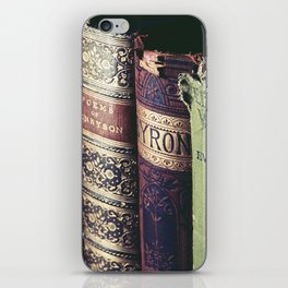 Vintage low light photography of books iPhone Skin