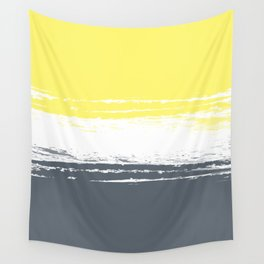 Color Blocks Pairing - Yellow & Petroleum Blue Wall Tapestry