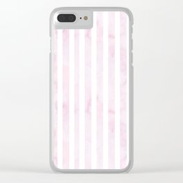 Hand painted baby pink white watercolor stripes Clear iPhone Case