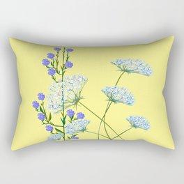 My Kentucky Wild Flowers, Queen Anne Lace and Flax Rectangular Pillow