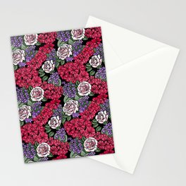 Chevron Floral Black Stationery Cards