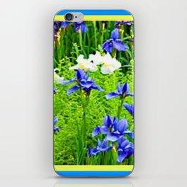 WHITE-BLUE IRIS & FERNS GARDEN iPhone Skin