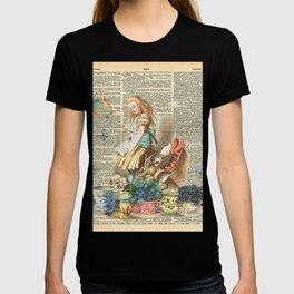 Vintage Alice In Wonderland on a Dictionary Page T-shirt