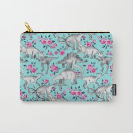 Dinosaurs and Roses - turquoise blue Carry-All Pouch