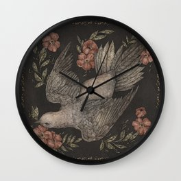 Dove and Flowers Wall Clock