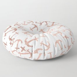 Modern faux rose gold anchors pattern white marble Floor Pillow
