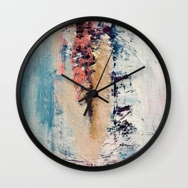 Artemis: A pretty, minimal, abstract mixed media piece in blue, gold, pink, purple, and white Wall Clock