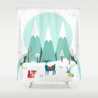frozen Shower Curtains featuring Frozen by General Design Studio