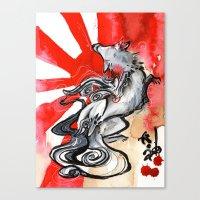 okami Canvas Prints featuring OKAMI by Rubis Firenos