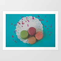 macarons Art Prints featuring Macarons by Jessica Torres Photography