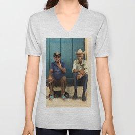 Two old Cuban men Unisex V-Neck