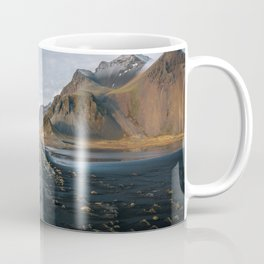 Stokksnes beach road with mountains in the background – Landscape Photography Coffee Mug