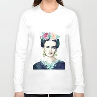 frida kahlo Long Sleeve T-shirts featuring Frida Kahlo  by South Pacific Prints