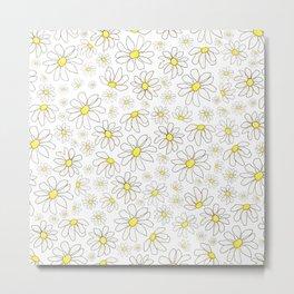 Picking Daisies - White Metal Print