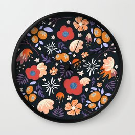 Navy Floral Wall Clock
