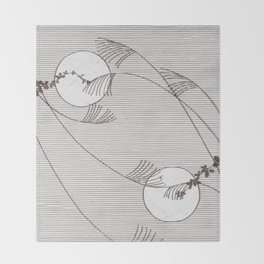Two Moons Stencil,19th century Japan Throw Blanket