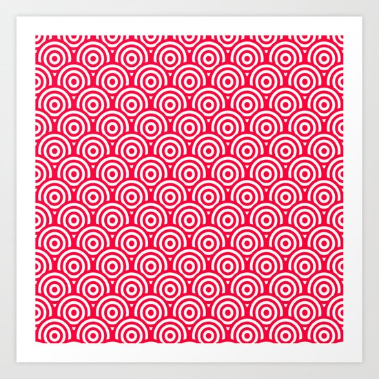 Red/Pink & White Geometric Circle Pattern Art Print