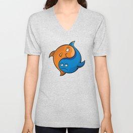 Yin Yang Fish Cartoon Unisex V-Neck