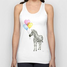 Zebra Watercolor With Heart Shaped Balloons Whimsical Baby Animals Unisex Tank Top