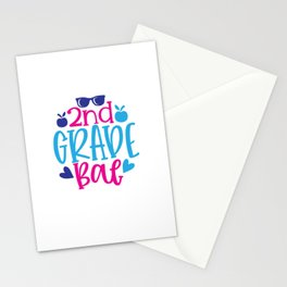 Nd  Grade Bae - Funny School humor - Cute typography - Lovely kid quotes illustration Stationery Cards