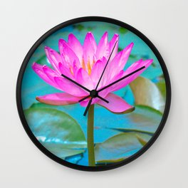 Pink Water Lily Flower - Nature Photography Wall Clock