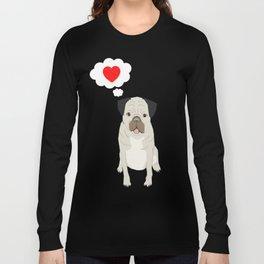Valentines Pug with Heart - I Love You - Heart, pug, dog, cute, trendy Long Sleeve T-shirt