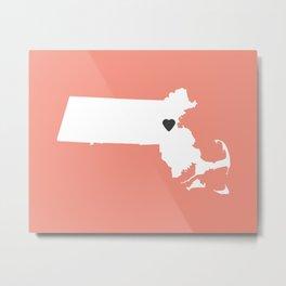 Massachusetts Love in Peach Metal Print