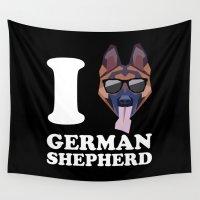 german shepherd Wall Tapestries featuring I Love German Shepherd modern v2 by Vehicle