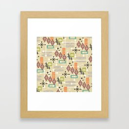 Retro Mid Century Modern Atomic Abstract Pattern 241 Framed Art Print