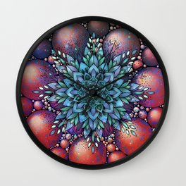 Red fancy Christmas Wall Clock