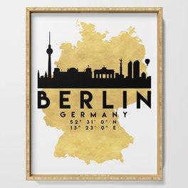 BERLIN GERMANY SILHOUETTE SKYLINE MAP ART Serving Tray