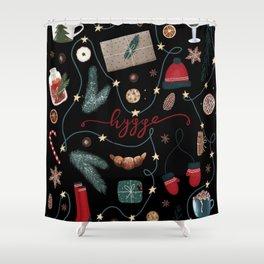 Dark Hygge Christmas Shower Curtain