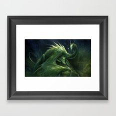 Green Crystal Dragon Framed Art Print