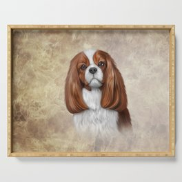 Drawing Dog Cavalier King Charles Spaniel Serving Tray