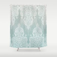 Lace & Shadows - soft sage grey & white Moroccan doodle Shower Curtain