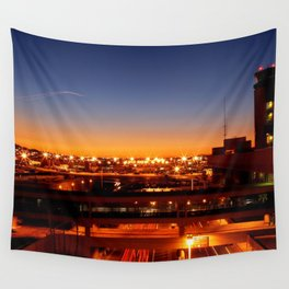Airport Sunset Time Lapse Wall Tapestry