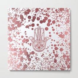 Chic elegant faux rose gold confetti hamsa hand of Fatima Metal Print