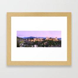 La Alhambra, Sierra Nevada and Granada. At pink sunset Framed Art Print