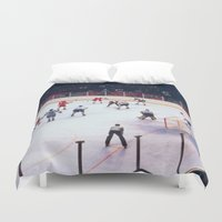 hockey Duvet Covers featuring Vintage Ice Hockey Match by BravuraMedia