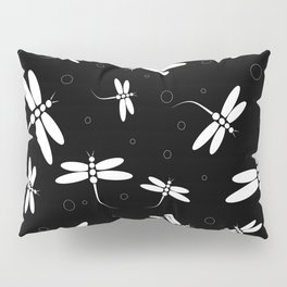 Black and white Dragonflies Pillow Sham
