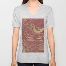 Elegant burgundy faux gold stylish modern marble Unisex V-Neck