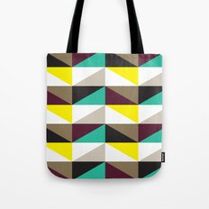Yellow, purple, turquoise triangle pattern Tote Bag