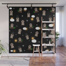 Groundhog Day Pattern Wall Mural