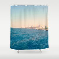 cleveland Shower Curtains featuring Cleveland Skyline  by Julia Blanchette