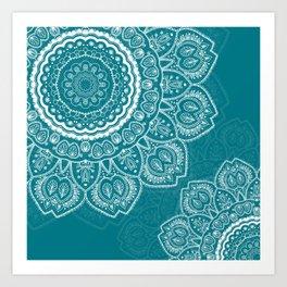 Mandala in White on Teal Art Print
