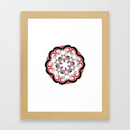 Floral Black and Red Round Ornament Framed Art Print