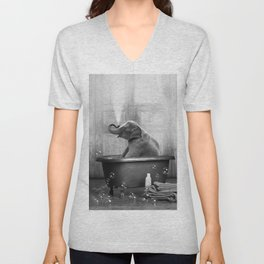 Elephant in Vintage Bathtub Unisex V-Neck