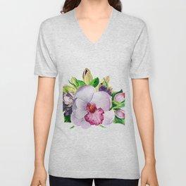 flower bouquet. Orchid watercolor. watercolor flowers Unisex V-Neck