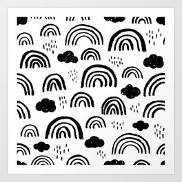 Black and white rainbow clouds Art Print